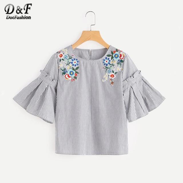 Dotfashion вышитый цветок аппликация Топ Лето плиссе с рукавами-колокол Повседневная блузка дамы шею Половина рукава блузка