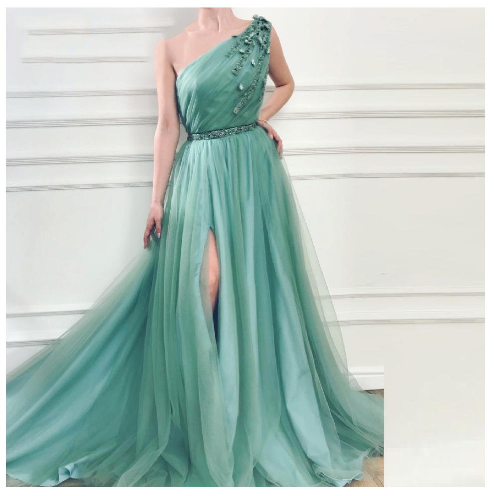 LORIE   Evening     Dress   One Shoulder Party Gowns Green Robe De Soiree Side Split Prom   Dresses   Beading Top   Evening   Gowns