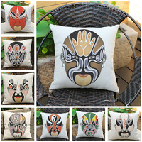 Chinese Element Couch Cushion Traditional Peking Opera Face Woven Cotton Linen Office Sofa Pillows High Quality
