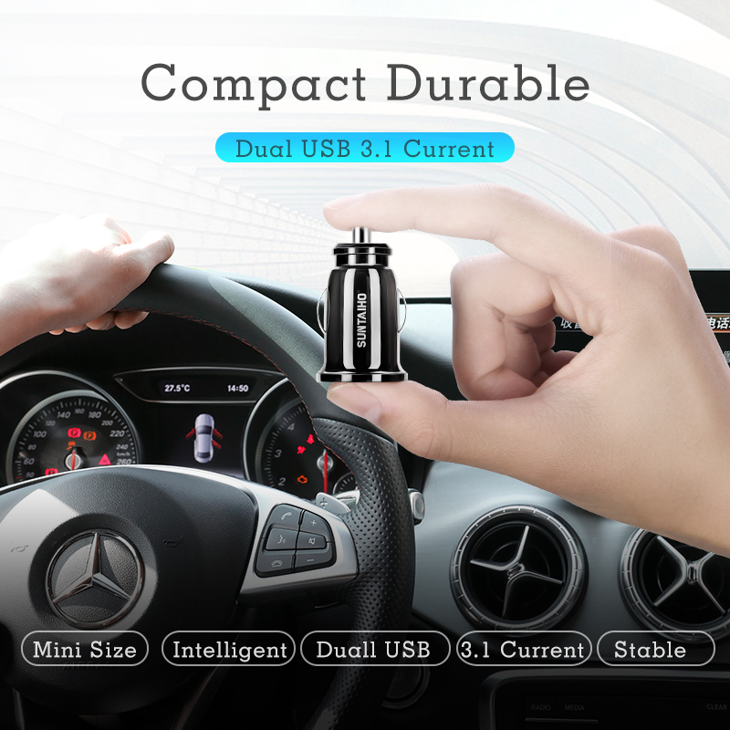 Suntaiho Dual USB Car Charger Mini Car-Charger 3.1A Mobile Phone Car charger adapter Car GPS Samrtphone for iPhone Xiaomi Huawei