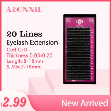 Abonnie 20lins Faux mink individual eyelash lashes maquiagem cilios for professionals soft mink eyelash extension