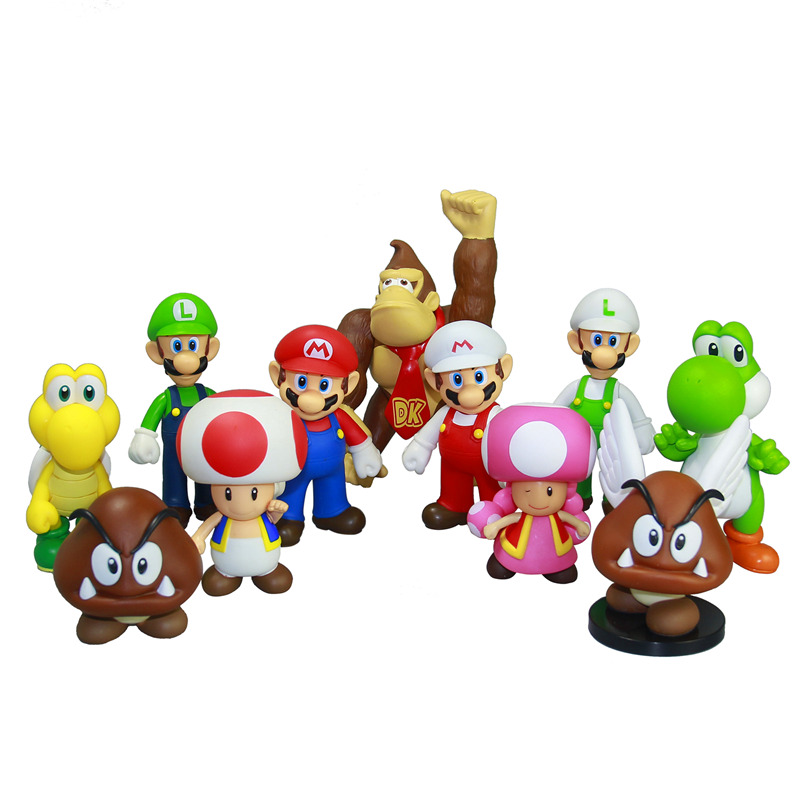 "<font><b>Super</b></font> <font><b>Mario</b></font> <font><b>Bros</b></font> <font><b>Action</b></font> <font><b>Figure</b></font> 12CM 4.7"" <font><b>PVC</b></font> Toy Doll <font><b>Mario</b></font> <font><b>Luigi</b></font> Yoshi 1PC Free Shipping Wholesale New Game Movie TV Anime"