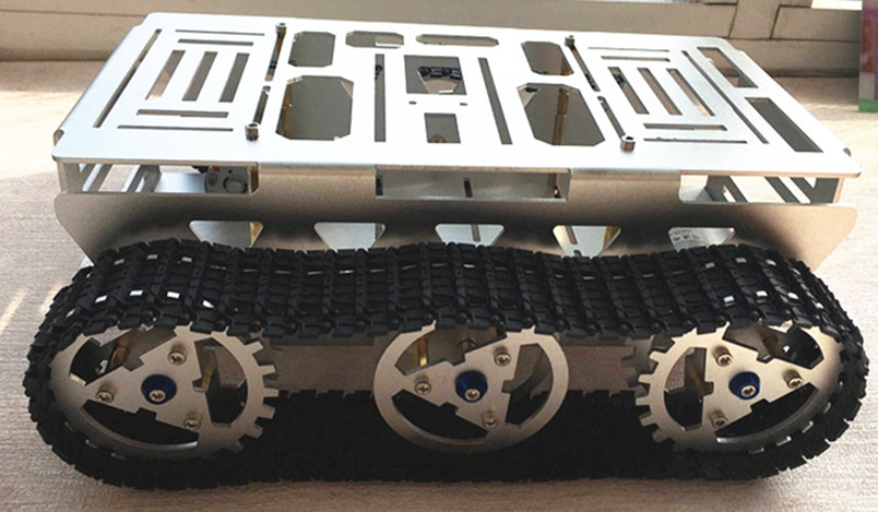 DIY Aluminium Alloy Intelligence Vehicle Car Platform Tracked Robot Tank Chassis with Powerful Motor for STEM Education For Kids vik max adult kids dark blue leather figure skate shoes with aluminium alloy frame and stainless steel ice blade