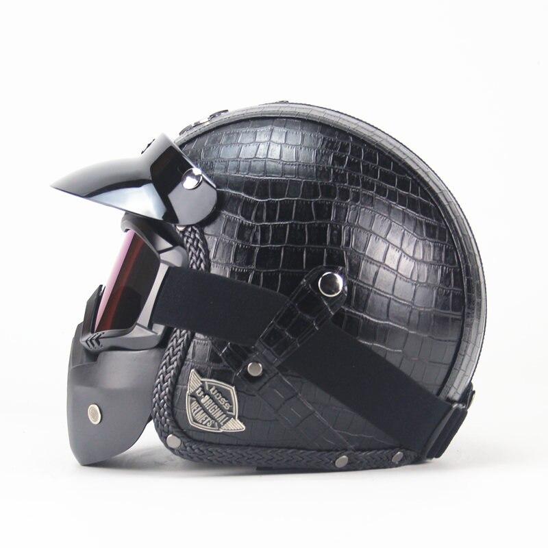 Couro do PLUTÔNIO do vintage Capacetes Máscara Destacável Óculos E Boca Filtro Perfeito para Abrir Rosto Meio Capacete Da Motocicleta preta