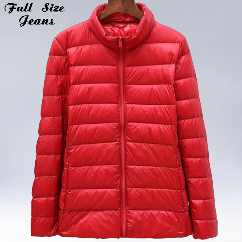 Winter Plus Size 5XL 6XL Womens Stand Collar Duck   Down   Jackets Short Ultra Light   Down     Coat   Hooded Puffer Jacket Autumn Parkas