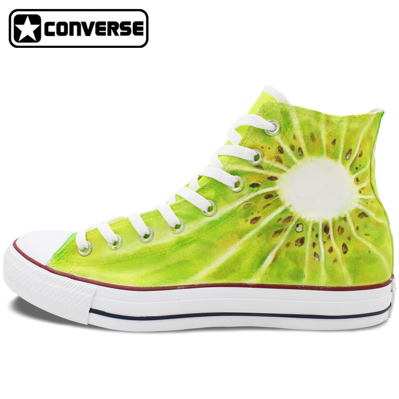 купить  Men Women Converse Chuck Taylor Shoes Kiwi Fruit Hand Painted High Top Canvas Sneakers Custom Design Unique Gifts for Man Woman  онлайн
