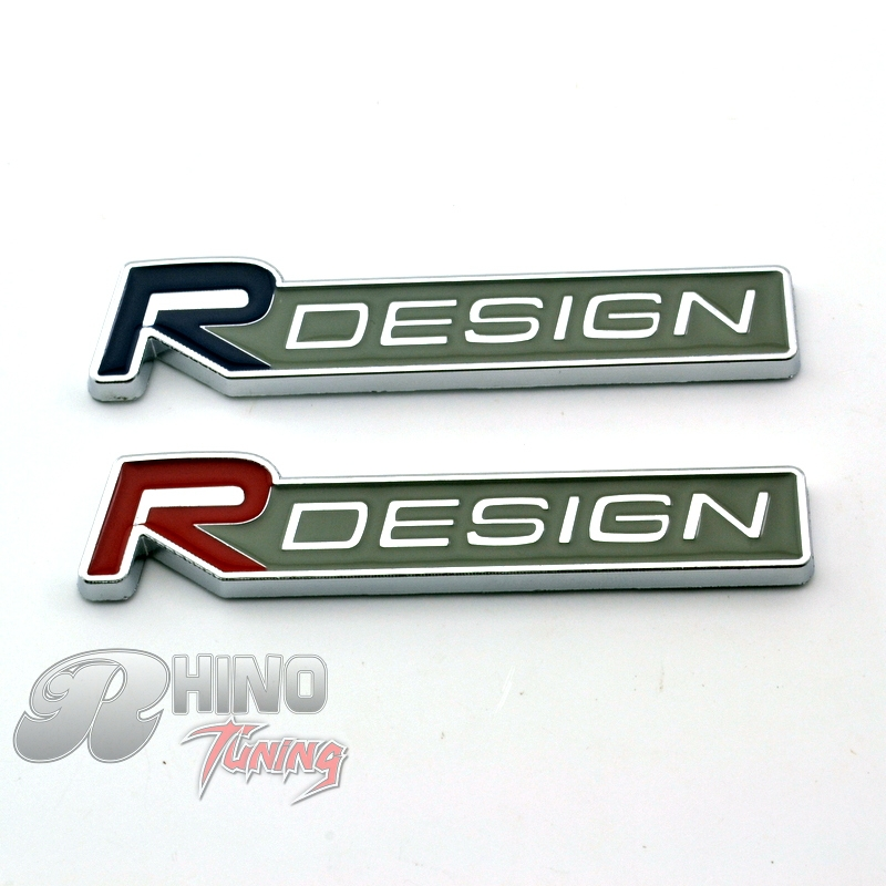 Rhino tuning 1pc metal r design blue red sticker car body wing side tail rear