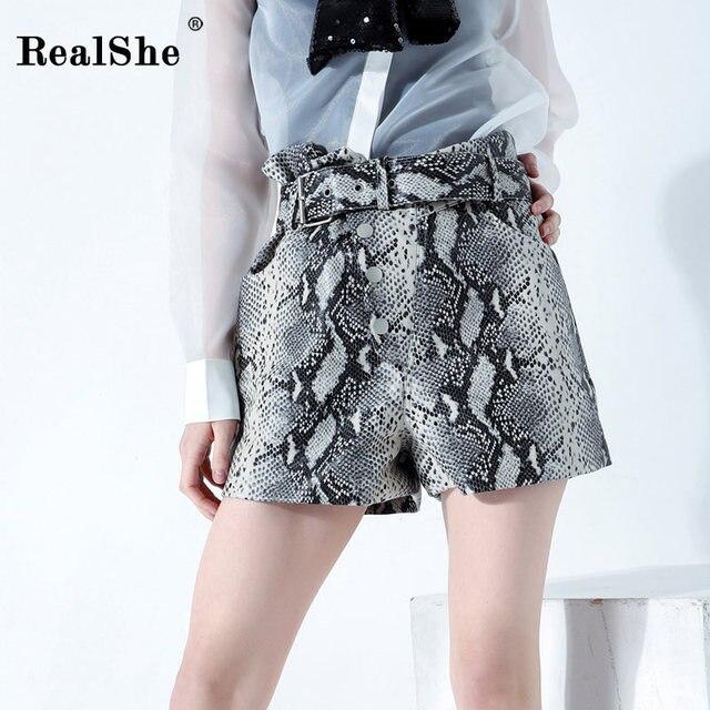 RealShe 2019 Shorts Women High Waist Sashes Snake Skin Print Straight Short Pants Ladie Spring Summer Casual Streetwear Shorts