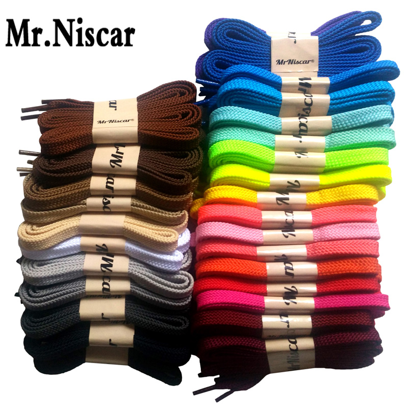 Mr.Niscar 1 Pair High Quality Polyester Flat Shoelaces 28 Colors Colored Shoe Laces Casual Sneakers Shoelace Strings Rope