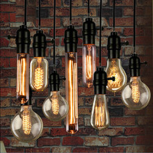 Vintage Loft Retro DIY E27 Spiral Incandescent Light Novelty Fixture Glass LED Edison Bulbs 40W 110-240V Pendant Lamps Lighting(China)