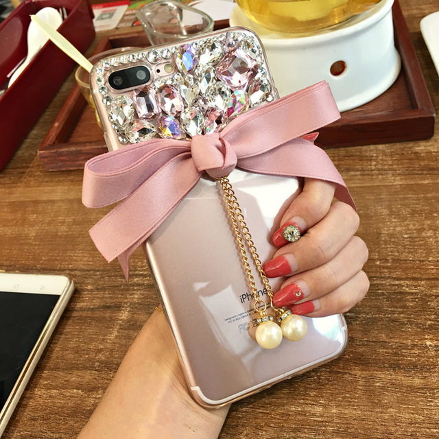 For iPhone 6 7 8 Plus X XS MAX XR For Samsung S6 S7 edge S8 S9 S10 Note 8 9 Cute glitter Rhinestone bow pearl soft Phone case