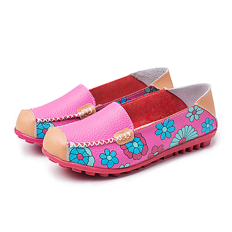 High Quality Genuine   Leather   Women Flats Boat Shoes Comfortable Soft Gommino Flats Fashion Flowers Printing Flat Slip On Shoes