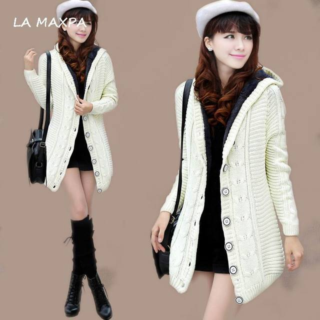 Online Shop 2017 New Winter Hooded Cardigan Cashmere Sweater Women ...