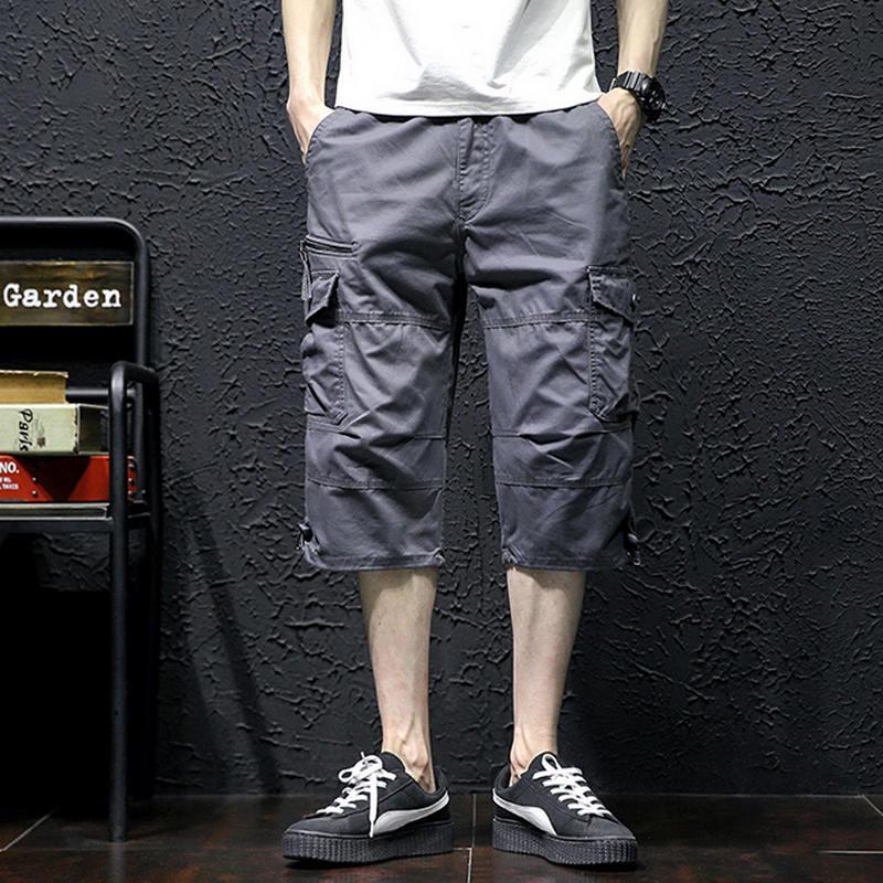 Summer Mens Baggy Multi Pocket Military Zipper Cargo Short Hot breeches Male Long Army Green Khaki Men Tactical Short Plus Size