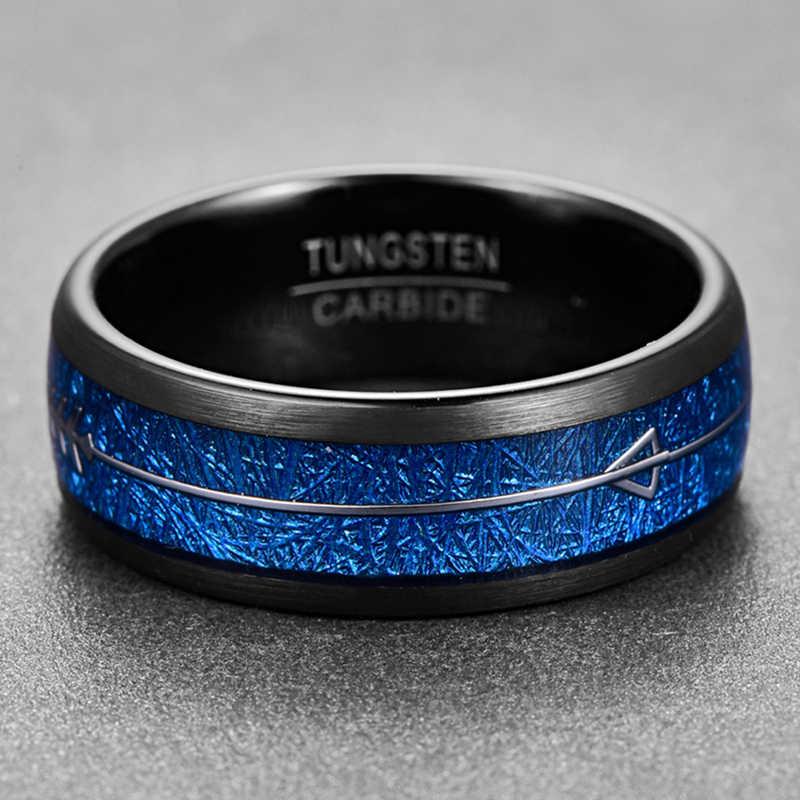 Nxingad 8 مللي متر الفضة السهم على شكل حلقة كربيد التنغستن مطعمة الأزرق تقليد النيزك العصابات الزفاف الأسود قبة خواتم الرجال المجوهرات
