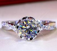 1CT Solid 925 Stelring Silver Wedding Engagement Anniversary Ring Women Brithday Party Gift G color