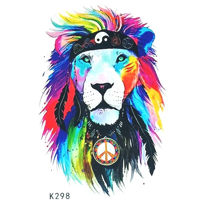 Waterproof Temporary Tattoo Sticker Watercolor Lion Tatto Stickers Flash Tatoo Fake Tattoos For Child Girl Women Men