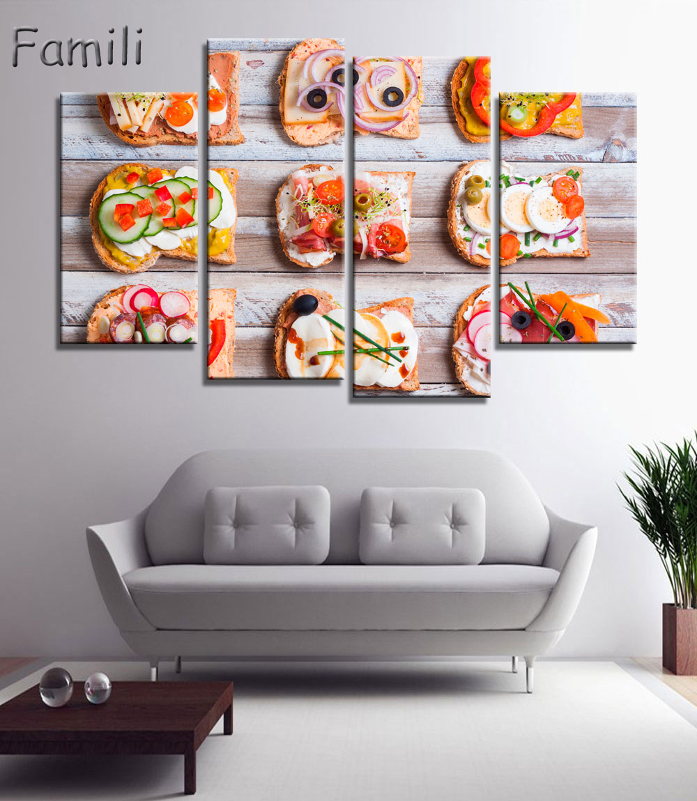 4pcs Chicken Whole Wheat Bread Spices Delicious Food Unframed Canvas Print Room Decor Print Poster Picture Canvas Free Shipping