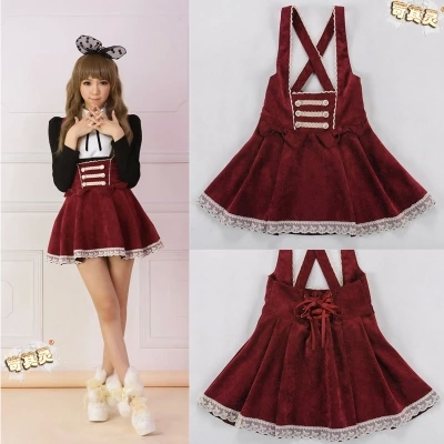 2016 Autumn Women High Waisted Wine red bow tie Jumper Skirts Corduroy Suspender Strap Lolita Ribbon Corset Kawaii Sweet JSK