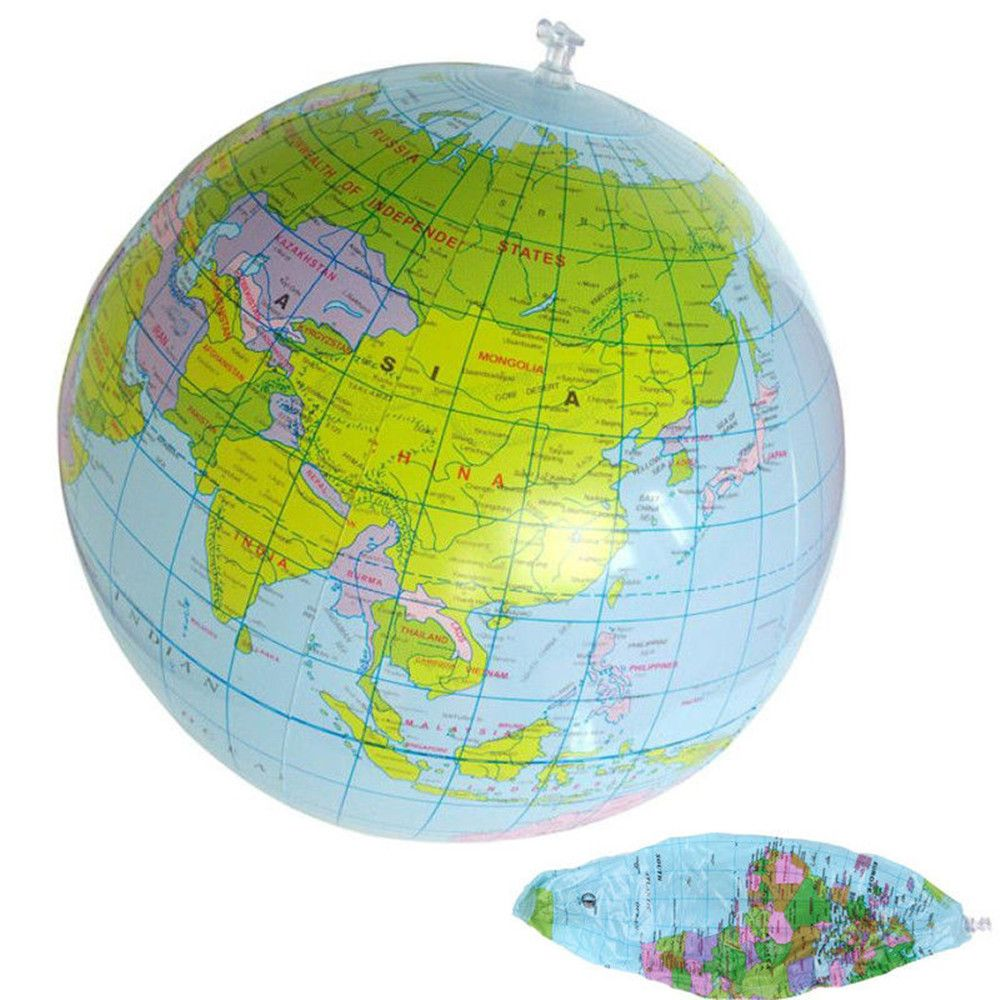 1 Pc 40CM Inflatable World Globe Balloon Children Teach Education Geography Toy Map Balloon Beach Ball (Color: Multicolor)