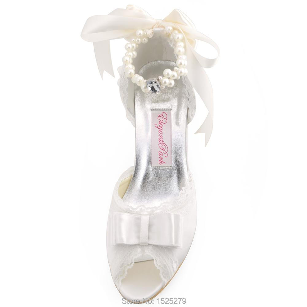 6390725f50ae A3202 Ivory Women Bridal Party Pumps High Heel Lace Trim Platform Bow Pearls  Buckles Straps Satin Wedding Bride Shoes-in Women s Pumps from Shoes on ...