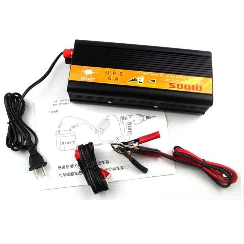 Convertisseur cc à ca onduleur 12v 220v500W entrée 12V à sortie 220V 500w ups onduleur avec chargeur