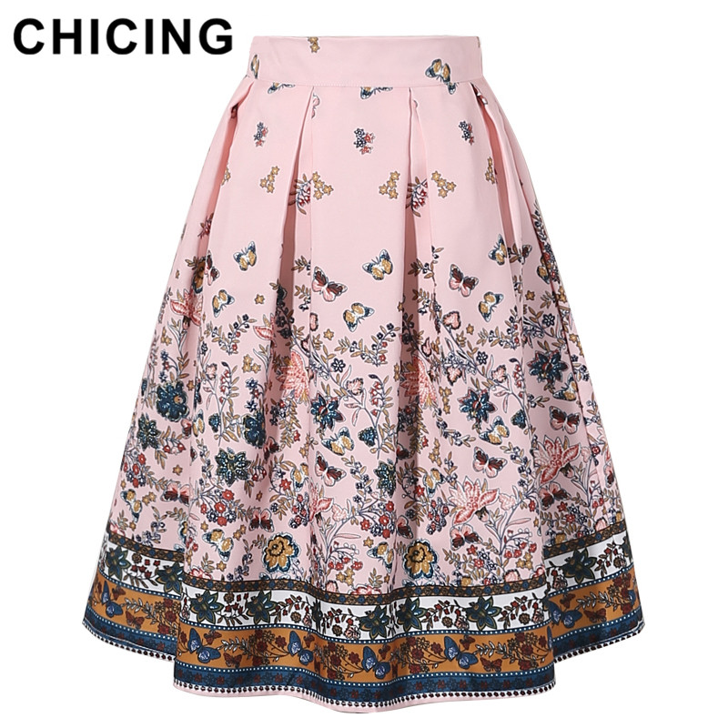Detail Feedback Questions about CHICING 2018 New Design Midi Skirts High  Waist Vintage Floral Printed Swing Pleated Flared Women s Skirt Female Saias  ... 940e8bf1a720