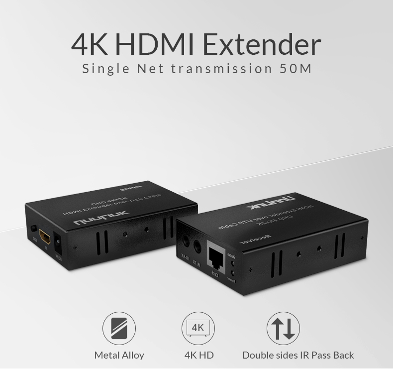 Unnlink 4K HDMI Fiber Optical Extender RJ45 UHD 4K 2K EDID Technology IR Double side 480P