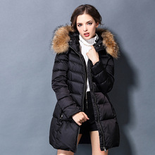 New 2016 High Quality Winter Jacket Women Regular Solid Zipper Slim Thick Full Sleeve Fur Collar Warm Down Coat White Down Duck