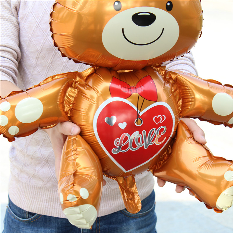 Large 3D Love Bear foil balloons Wedding decorations helium balloon birthday balloons Inflatable Toys air ball party suppiles