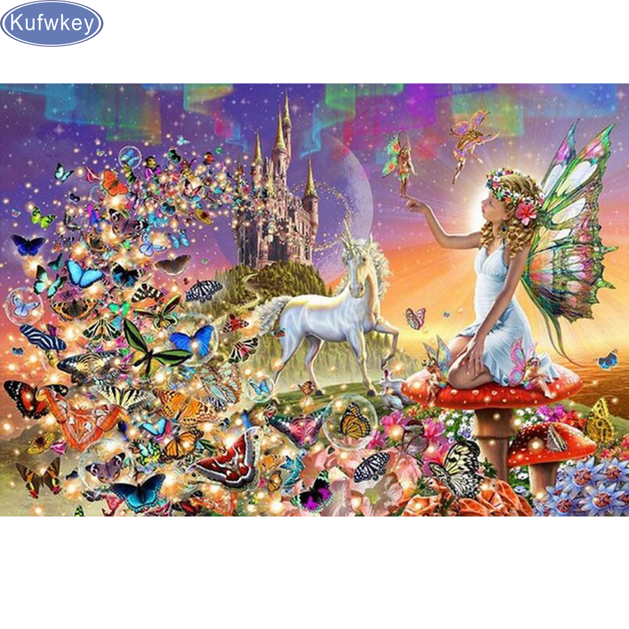 5D DIY Diamond Painting Embroidery CrossStitch Angel Butterfly Mosaic Home Decor