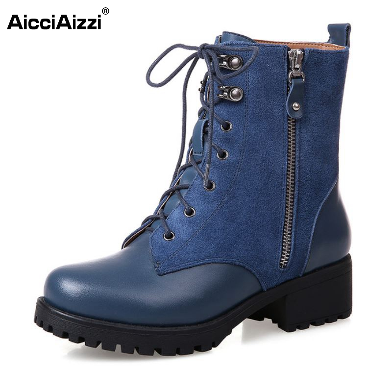 Platform Square Heel Half Short Real Leather Boots Women Fashion Round Toe Zipper Shoes Lace-Up Female Bootie Size 34-39 women ankle boots 2016 round toe autumn shoes booties lace up black and white ladies short 2017 flat fashion female new chinese