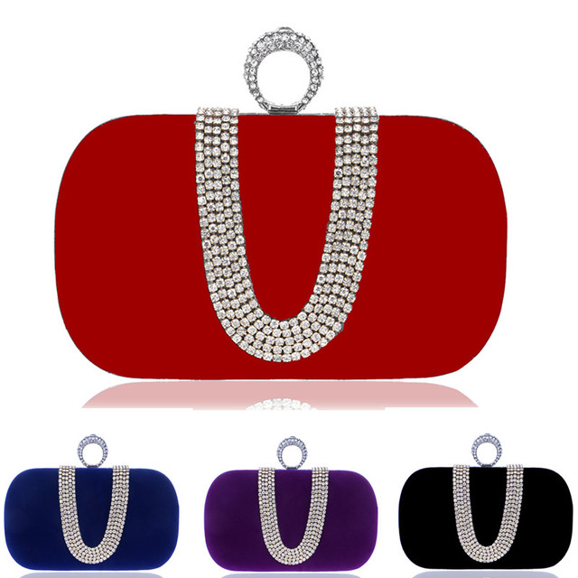 U design letter diamonds women evening bags rhinestones finger rings velvet candy color small day clutches purse evening bag