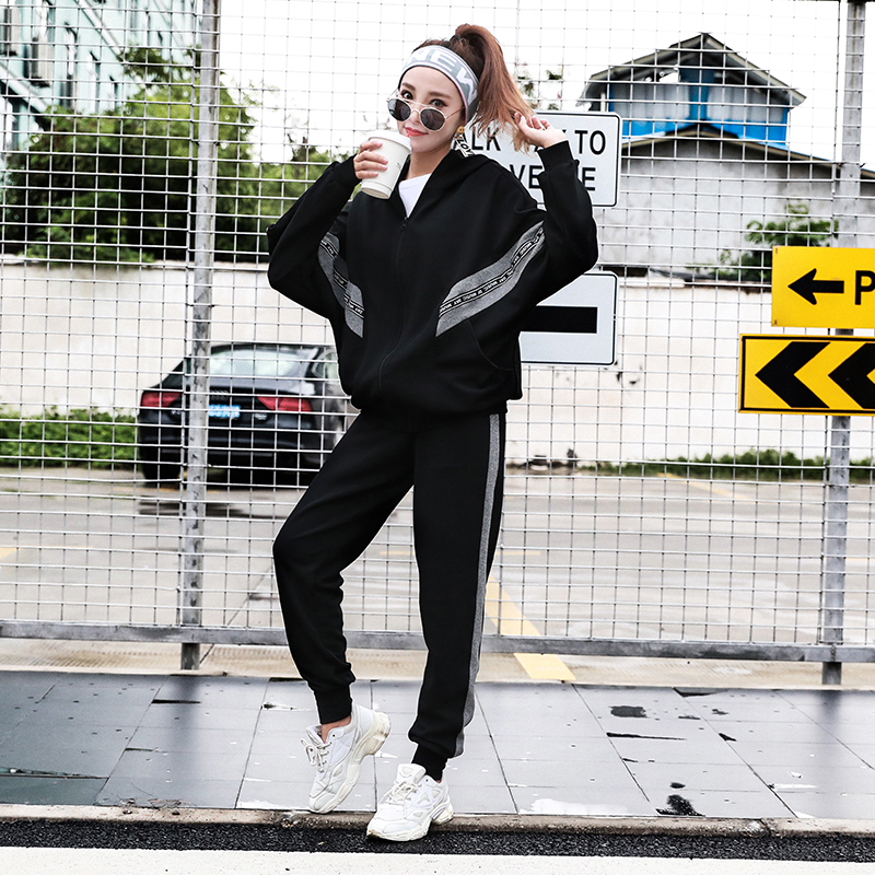 Sportswear Women Tracksuit Sport Suit Black Zipper Jacket+Pants New Fashion  Workout Clothes Running Plus Size Two Piece Set Tops 720f338a50e2