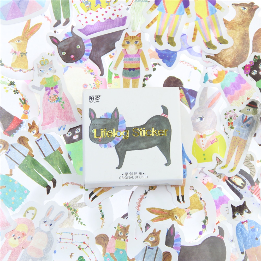 45Pcs/lot Anlice Animals Mini Paper Sticker Decoration DIY Album Diary Scrapbooking Label Sticker Kawaii Stationery