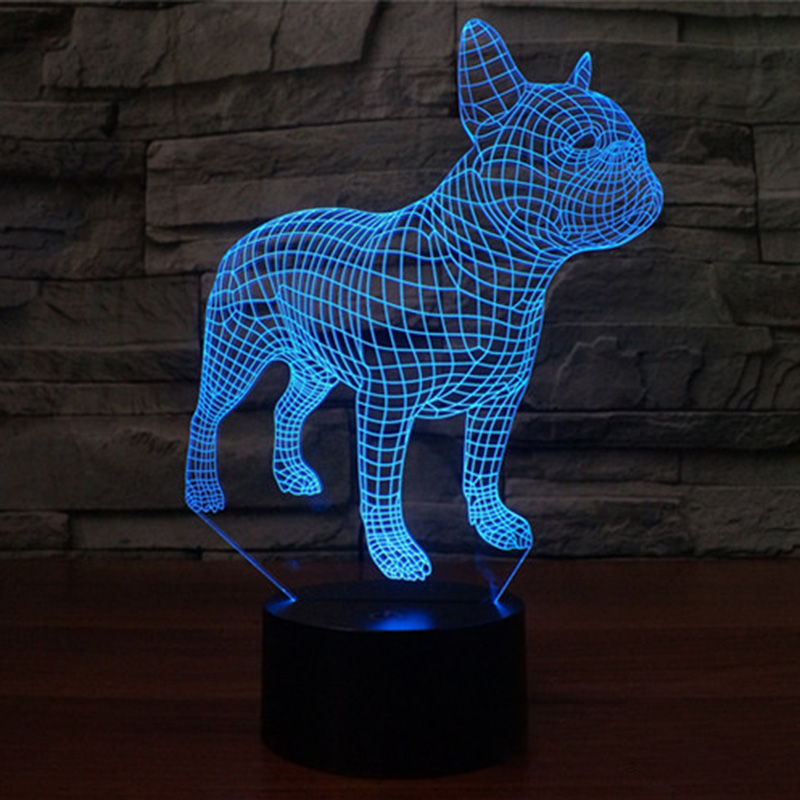 LED Colorful Table Lamp Dog Bulldog 3D Frence Nightlight Children Sleep Decoration Lighting For USB Birthday Gift House
