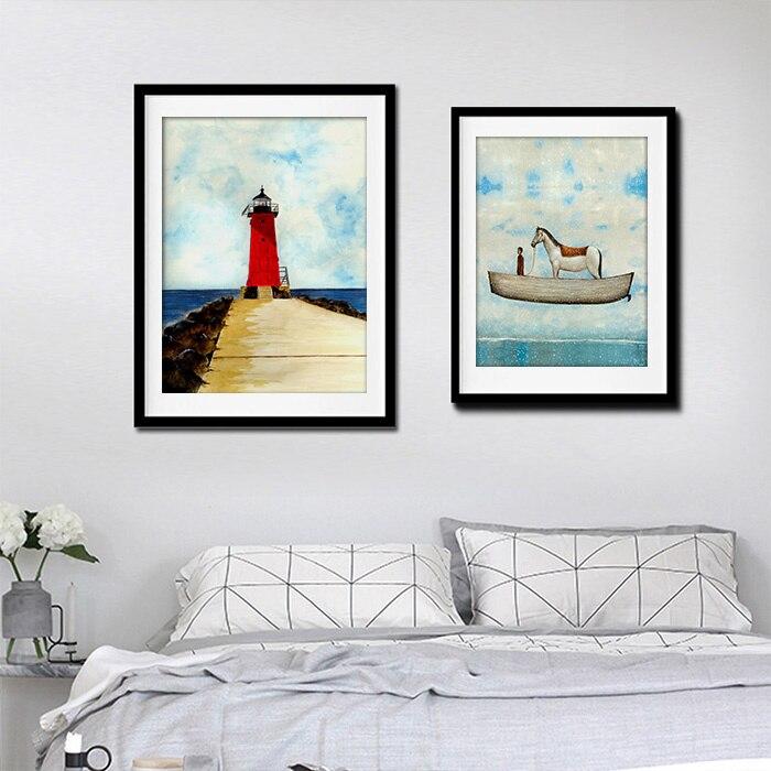 Simple landscape nordic decoration canvas paintings for - Simple canvas painting for living room ...