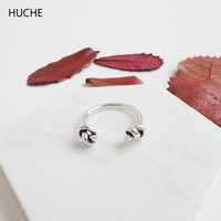 HUCHE Personality 100 Real 925 Sterling Silver Rings For Women Knot Open Ring Finger Silver 925