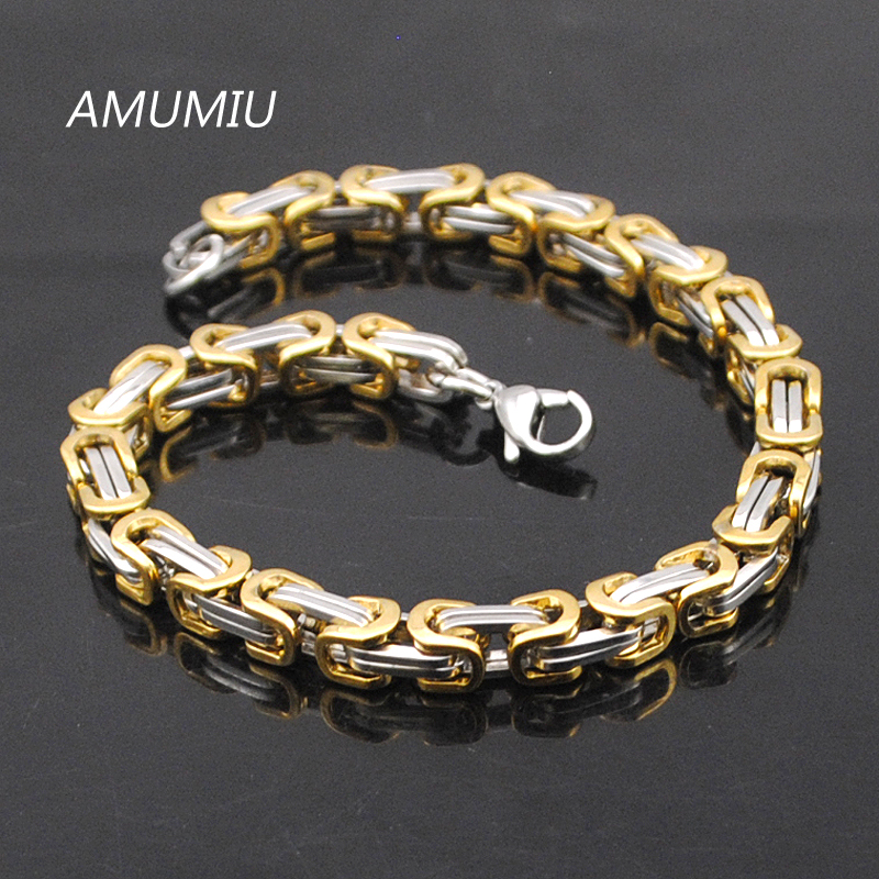 AMUMIU Promotion! Men's Bracelets Gold Chain Link Bracelet Stainless Steel 5.5mm Width Byzantine Wholesale High Quality KB002