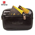 Brand Logo ! Genuine Leather Men Fanny Pack Casual 5.7 inch Mobile Phone Belt Bag Travel Waist Pack Casual Money Bags