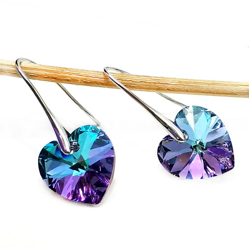 SHDEDE Heart Crystal from Swarovski Long Dangle Drop Earring Party Jewelry For Women High Quality Fashion Birthday Gift 256 in Drop Earrings from Jewelry Accessories