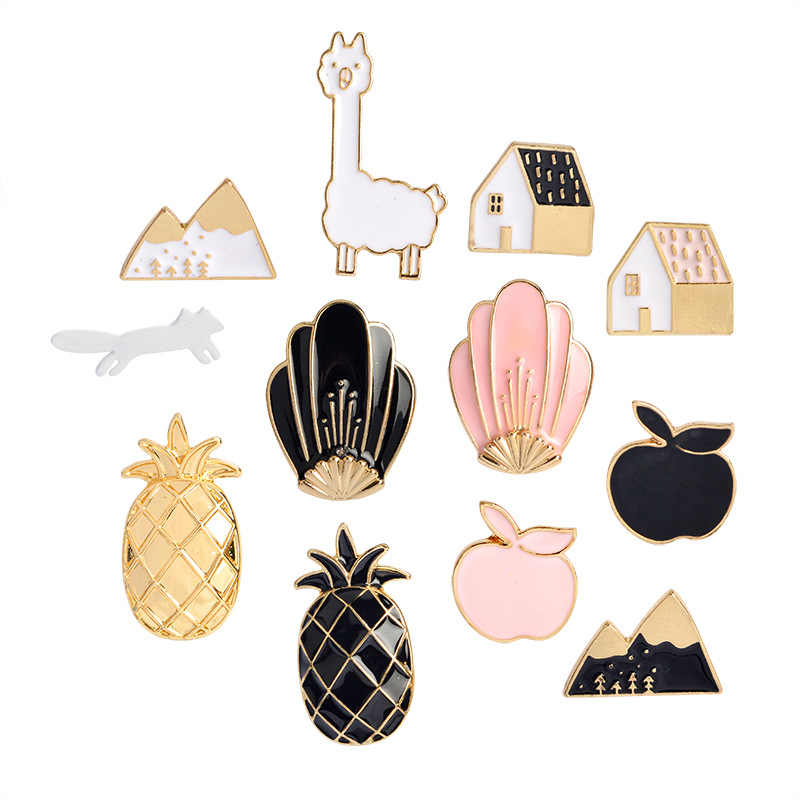 Enameled Pins brooches Black Pink Pineapple Apple House Fox Snow Mountain Shell Brooch Button Pins Women Girl Bag Collar