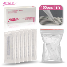 100Pcs 1r Permanent Makeup Needles Caps Traditional 1rl Needle Tips Microblading For Tattoo Eyebrow Pen Machine