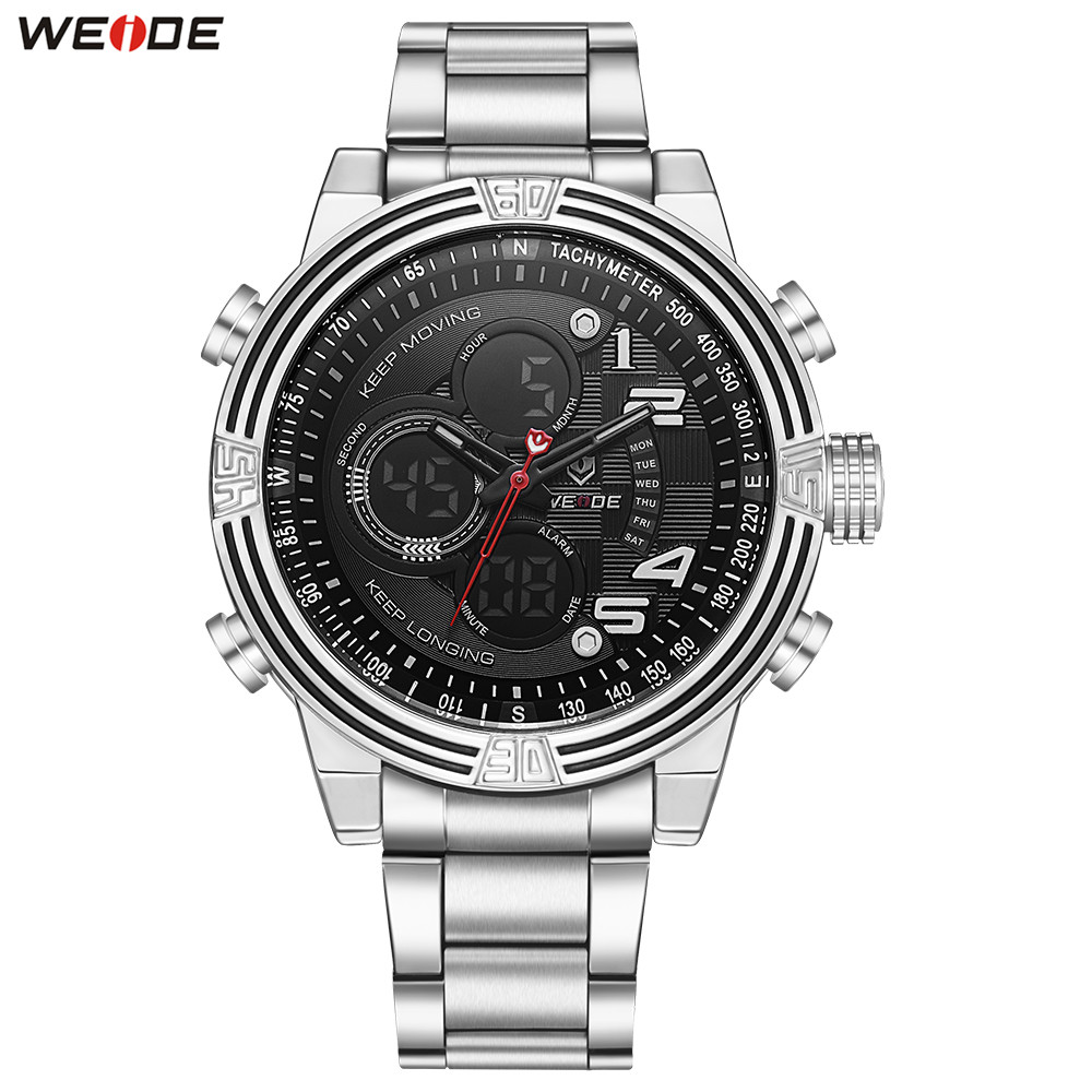 2018 Fashion WEIDE Sport Watch Men Digital Quartz Watch Men LED Multiple Time Zone Wristwatch Stainless Steel Band Male Relogios weide casual genuin brand watch men sport auto date quartz digital silicone waterproof wristwatch multiple time zone masculino