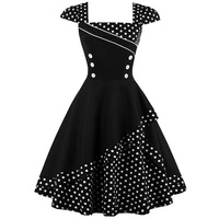 Polka Dot Vintage Dresses 50s 60s Cap Sleeve Buttons Retro Pinup Dress Plus Size Summer Clothes Women Ruffle Swing Dress Robes