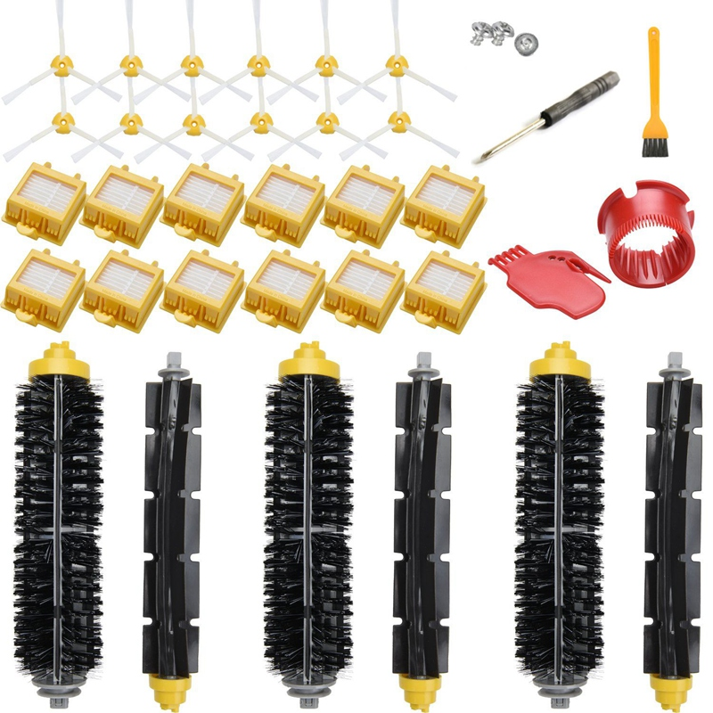 Substituição do Filtro E sem Escova Kit Para Irobot Roomba Série 700 760 770 780 790, (Kit de acessórios Incluem 12 Filtro, 12 Escova Lateral, 2