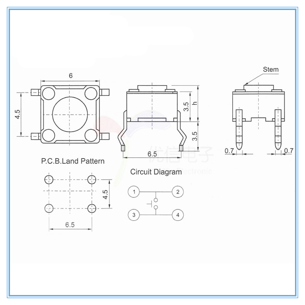 6 pin tactile switch wiring diagram library of wiring diagrams \u2022 toggle switch wiring diagram 20pcs 6 6 5mm 4pin seven color smart electronics tactile switches rh aliexpress com chinese atv cdi diagram 4 pin wiring diagram