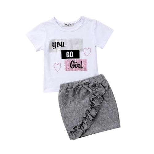 Newborn Kids Baby Girls Clothing Tops T-shirt Cotton Skirts 2pcs Summer Outfits Clothes Set Girl 1-5T 2018 summer baby girls clothing flower tops and tutu skirts 2pcs baby set newborn baby girl clothes infant girls sport suit
