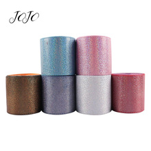 JOJO BOWS 75mm 2y Leather Ribbon For Crafts Solid Laser Tape For Wedding Home Decoration DIY Hair Bows Garments Sewing Materials martha stewart crafts silver ribbon bows