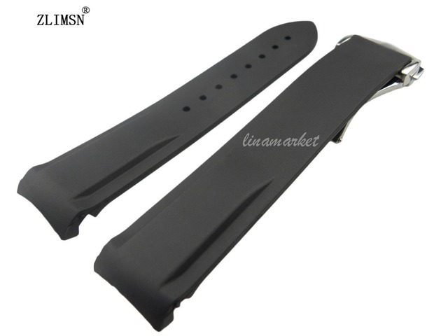 22mm (Hebilla 20mm) Negro Impermeable Buceo Bandas Caucho de Silicón Venda de correas de Reloj Correas Con Hebilla de Plata OME15